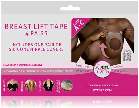 BREAST LIFT TAPE CUP A-C WITH DARK SILICONE NIPPLE COVERS
