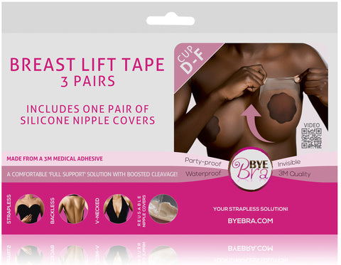 BREAST LIFT TAPE CUP D-F WITH DARK SILICONE NIPPLE COVERS