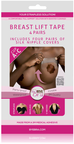 BREAST LIFT TAPE CUP A-C WITH DARK SILK NIPPLE COVERS