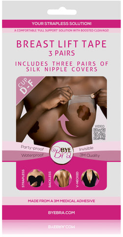 BREAST LIFT TAPE CUP D-F WITH DARK SILK NIPPLE COVERS