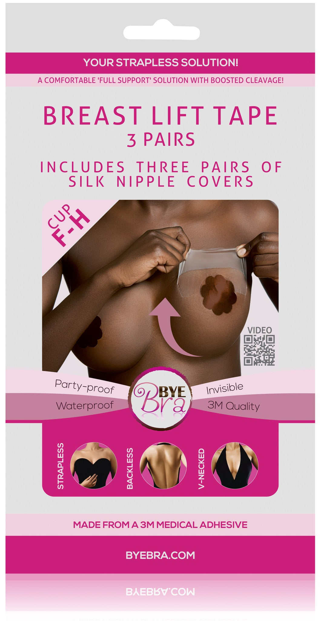 Bye Bra adhesive medical breast lift tape cup F-H with Dark silk nipple covers on Tights Etc south africa