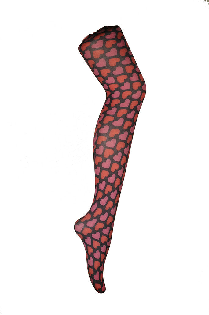 Candy Heart Pink Printed Tights Pink and Red Tights with Pink Hearts by Pamela Mann UK On Tights Etc South Africa