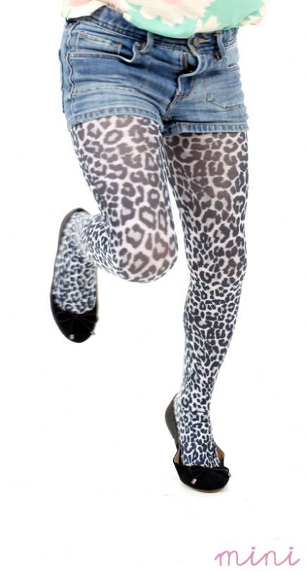 Small Leopard Animal Print on White Tights for Kids by Pamela Mann on Tights Etc South Africa