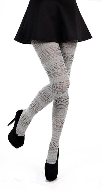 Fairisle Grey Winter Cotton Tights by Pamela Mann UK on Tights Etc South Africa