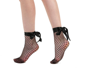 10f095734 Fishnet Bow Strap Ankle Socks Black – Tights Etc
