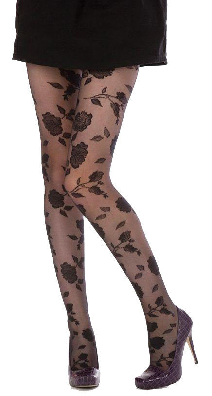 Flocked Rose Pattern Sheer Tights in Black and Black Sheer Fashion Tights by Pamela Mann UK on Tights Etc South Africa