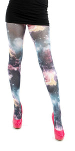 Galactic Sky Galaxy Print Multi Colour Printed Tights by Pamela Mann UK only on Tights Etc South Africa