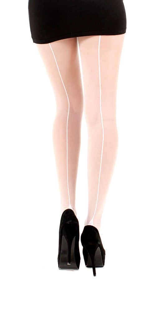 Jive backseam tights, White tights with White back seam, classic vintage look by Pamela Mann UK on Tights Etc South Africa