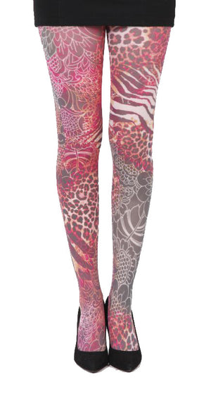 Jungle Lace Leopard pink Animal Print Tights by Pamela Mann UK on Tights Etc South Africa