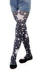 White stars on black tights for kids by Pamela Mann UK on Tights Etc South Africa