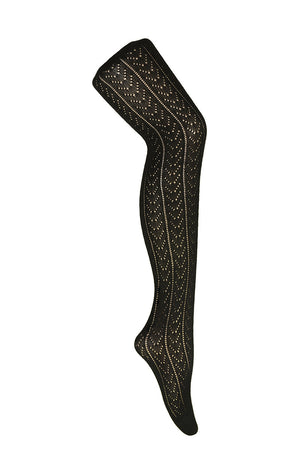 Lacy Chevron Black Winter Cotton Tights by Pamela Mann UK on Tights Etc South Africa