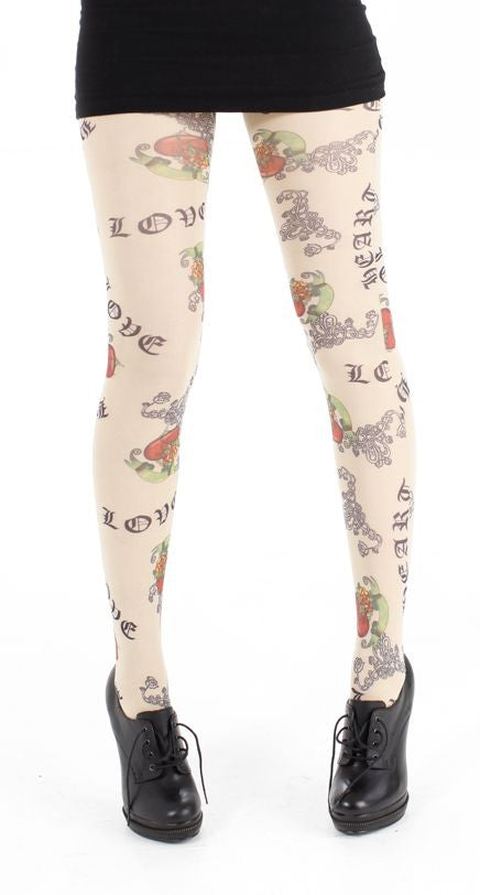 Love Tattoo Pattern Printed on nude Tights in calligraphy font by Pamela mann UK on tights etc south africa