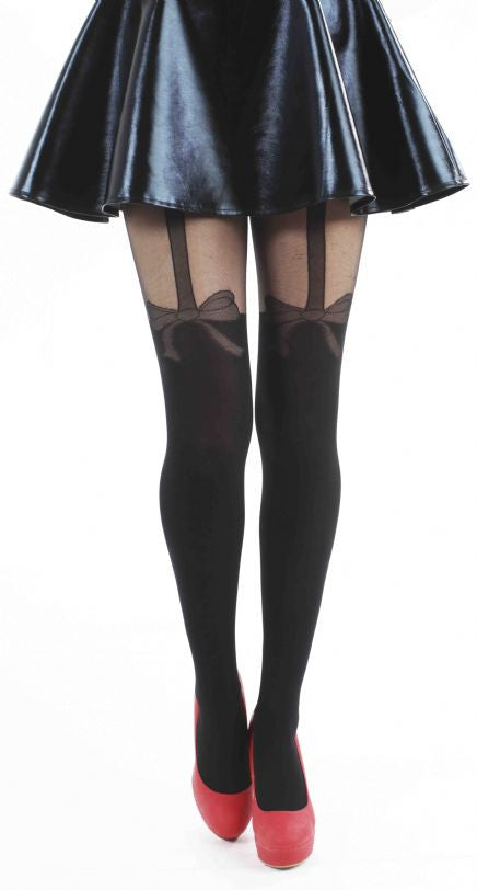 Net Bow over the knee Suspender Sheer Tights by Pamela Mann UK on Tights Etc South Africa