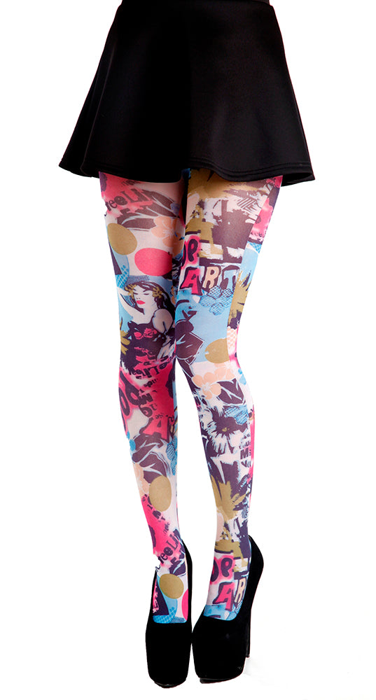 Punk Pop Art printed Tights. Style Up Pop Art. Grunge look fashion tights.unique tights by pamela mann Uk on Tights Etc South Africa