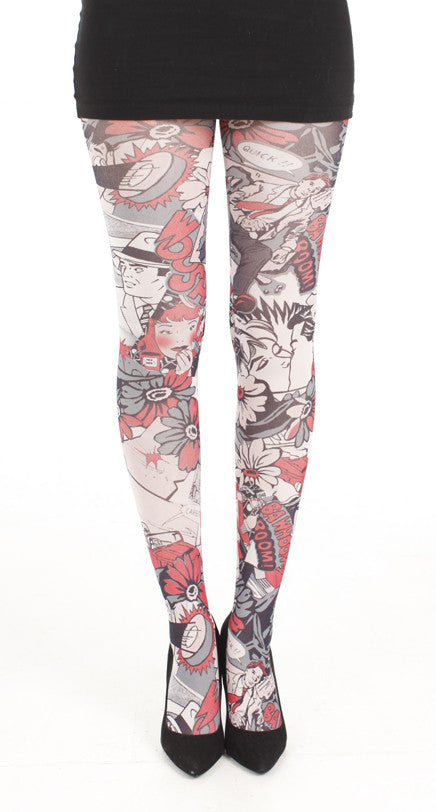 Secret Agent comics printed Tights in black ,white and red by pamela Mann Uk on Tights Etc South Africa