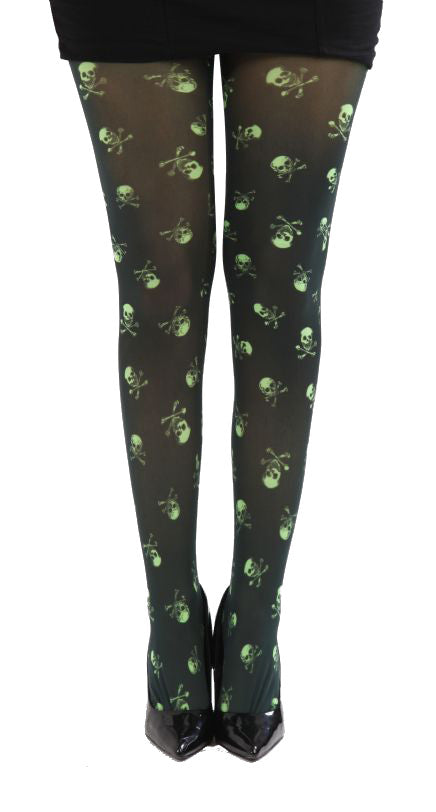 Black tight with aluminum green skeletons all over to give you a very unique gothic look By Pamela Mann UK  on Tights Etc South Africa