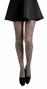 Small Leopard Animal Print on Brown Tights by Pamela Mann on Tights Etc South Africa