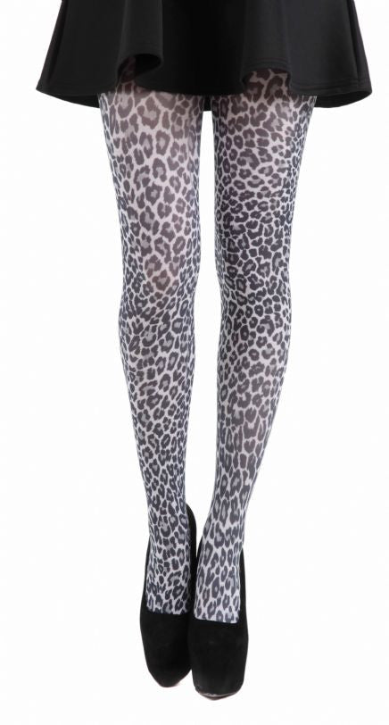 Small Leopard Animal Print on White Tights by Pamela Mann on Tights Etc South Africa