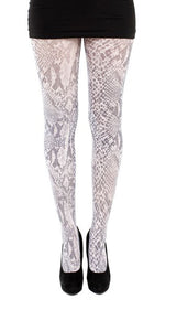 Snake Print on White Tights by  Pamela Mann UK on Tights Etc South Africa