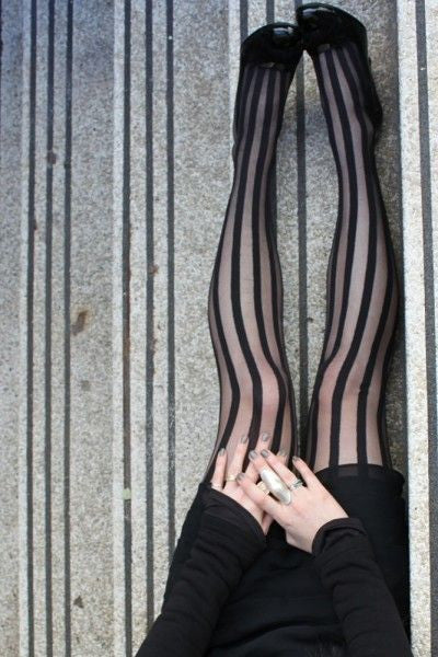 Solid Sheer Stripes Tights By Pamela Mann Uk on Tights Etc South Africa