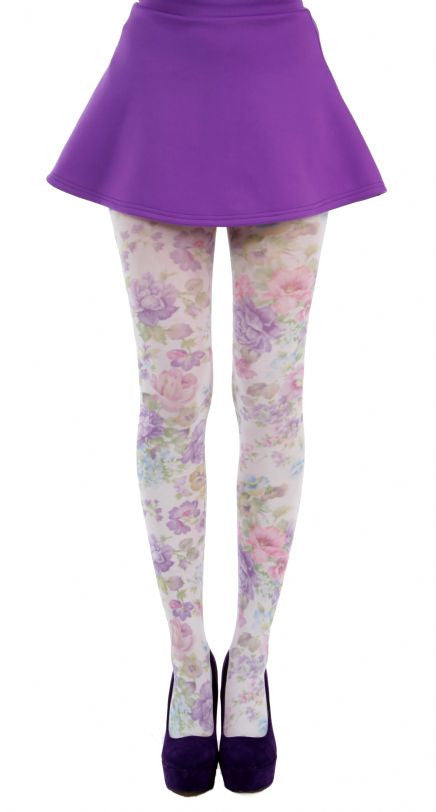 Spring Flowers in pink and purple printed on White Tights by Pamela Mann UK on Tights Etc South Africa