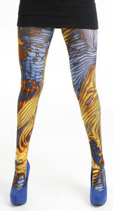 Storm electric printed Tights zebra stripes in yellow and blue  by pamela mann UK on Tights Etc South Africa