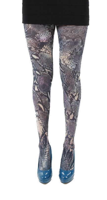 Tropical Snake skin animal print Tights in silver grey and green by Pamela Mann UK on Tights Etc South Africa