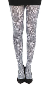 Vista kaleidoscope black and white Tights chess squares by Pamela Mann Uk on Tights Etc South Africa