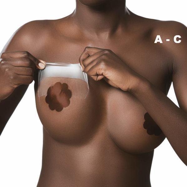 Bye Bra adhesive breast lift 3M Medical tape cup A-C with Dark Silk nipple covers on Tights Etc South Africa
