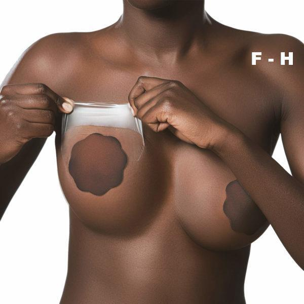 Bye Bra breast lift 3M medical tape cup F-H with Dark Silicone nipple covers on Tights Etc South Africa
