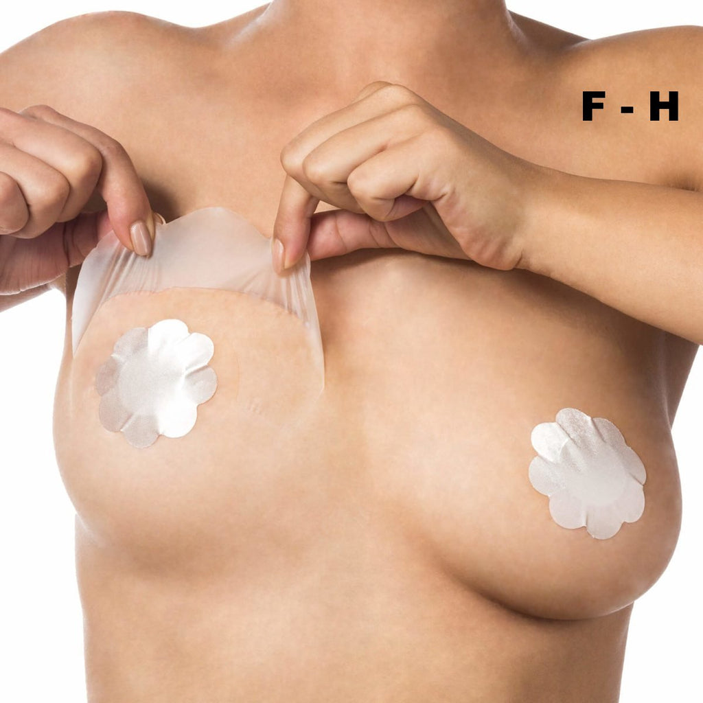 Bye Bra adhesive breast lift tape cup F-H with Nude Silk nipple covers on Tights Etc South Africa