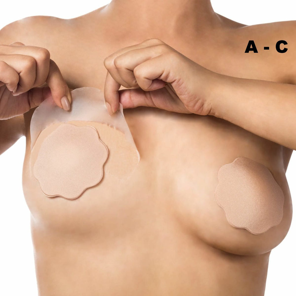 Bye Bra breast 3M medical lift tape cup A-C with Nude Silicone nipple covers on Tights Etc South Africa