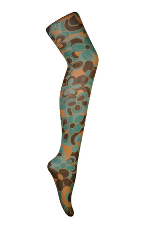 Clover sixties style brown and green pattern Tights by Pamela Mann UK Tights Etc South Africa