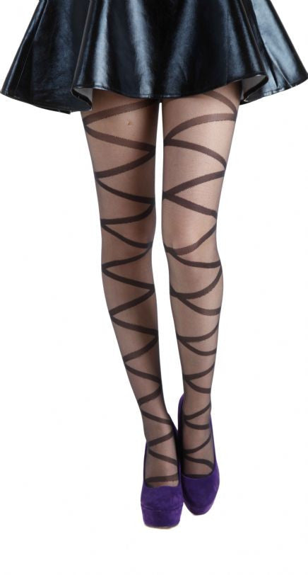 Criss Cross Zig Zag Triangles Sheer pattern Tights by Pamela Mann UK
