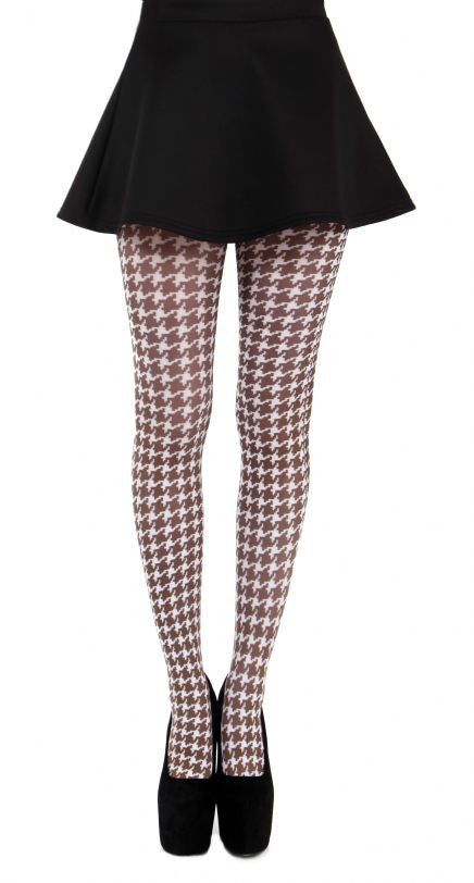 Small dogtooth brown and white printed tights by Pamela Mann UK on Tights Etc South Africa