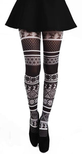 Fairisle Printed Black and White Christmas Winter Pattern Printed Tights by Pamela Mann UK on Tights Etc South Africa