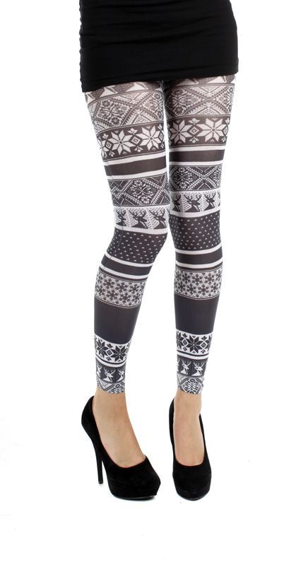 Fairisle Printed Black and White Footless Christmas Winter snowflakes and reindeers Pattern Printed Tights by Pamela Mann UK on Tights Etc South Africa