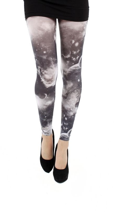 Galactic Sky Galaxy Print Black and White Footless Printed Tights by Pamela Mann UK on Tights Etc South Africa