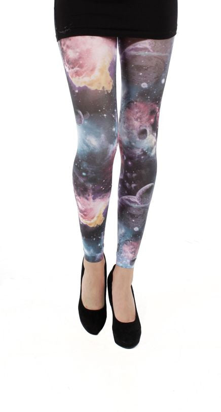 Galactic Sky Galaxy Print Multi Colour Footless Printed Tights by Pamela Mann UK only on Tights Etc South Africa