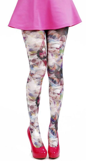 Kaleidoscope Multi Colour Printed Rainbow Tights by Pamela mann UK only Tights Etc South Africa