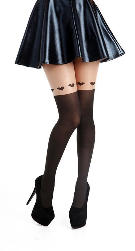 Large Heart Over Knee Suspender Tights by pamela mann UK only on Tights Etc south Africa