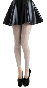 Lurex Shiny Silver white Footless Tights with a sparkle by pamela mann Uk on tights etc south africa