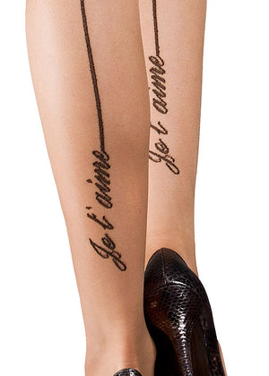 wedding tights, back seam tights, nude seam tights Moulin Rouge Je T'aime nude and black seam tights sheer tights 15 denier nude tights