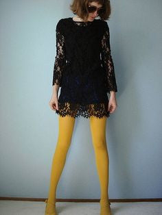Mustard solid colour 80 denier Tights by Pamela Mann UK on Tights Etc South Africa