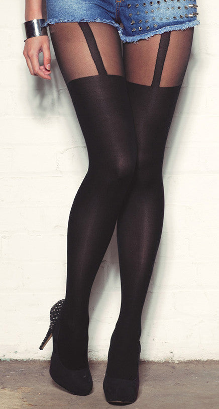 Plain Stripe Suspender Sheer Tights