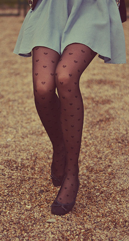 Hearts printed on Black sheer Tights sheer hearts by pamela mann UK on tights etc south africa