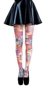 Punk Newspaper Graffiti printed Tights. Style Up. Grunge look fashion tights.unique tights by pamela mann Uk on Tights Etc South Africa