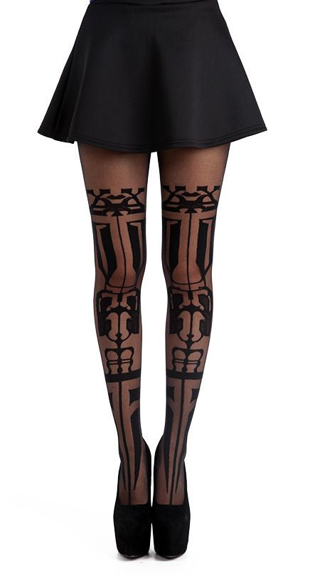 Aztec Tribal tattoo in black on Sheer Tights by Pamela Mann UK on Tights etc South Africa
