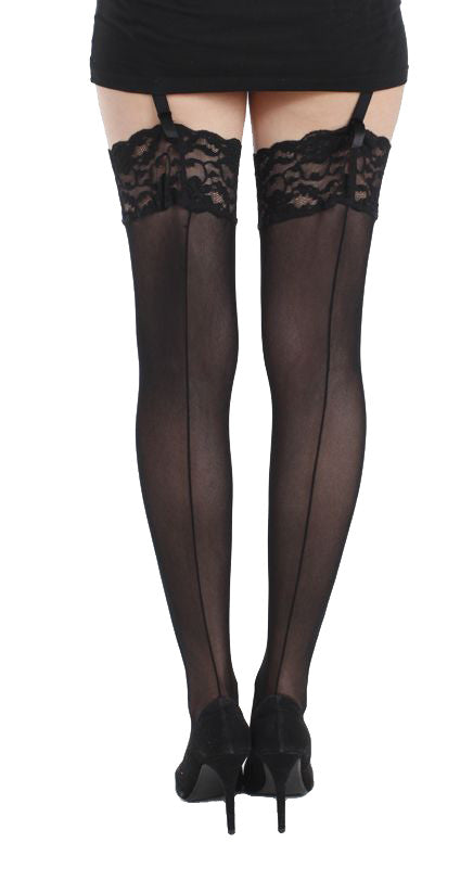 Tulle Seamed lace top stocking by Pamela Mann Uk on Tights Etc South Africa