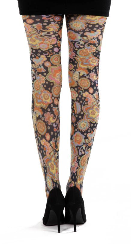 Vibrant multi colour Flower on black Tights by Pamela Mann UK on Tights etc South Africa